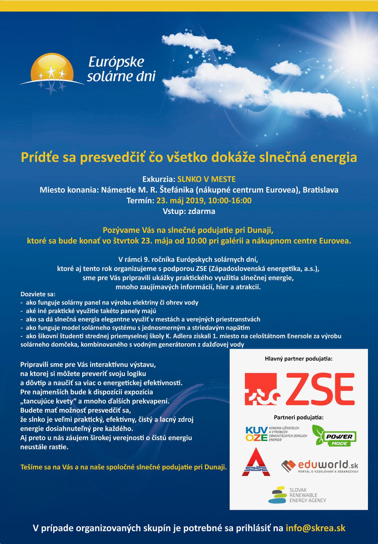 """Podujatie """"Slnko v meste"""" 23. maja 2019, Eurovea, Bratislava"""